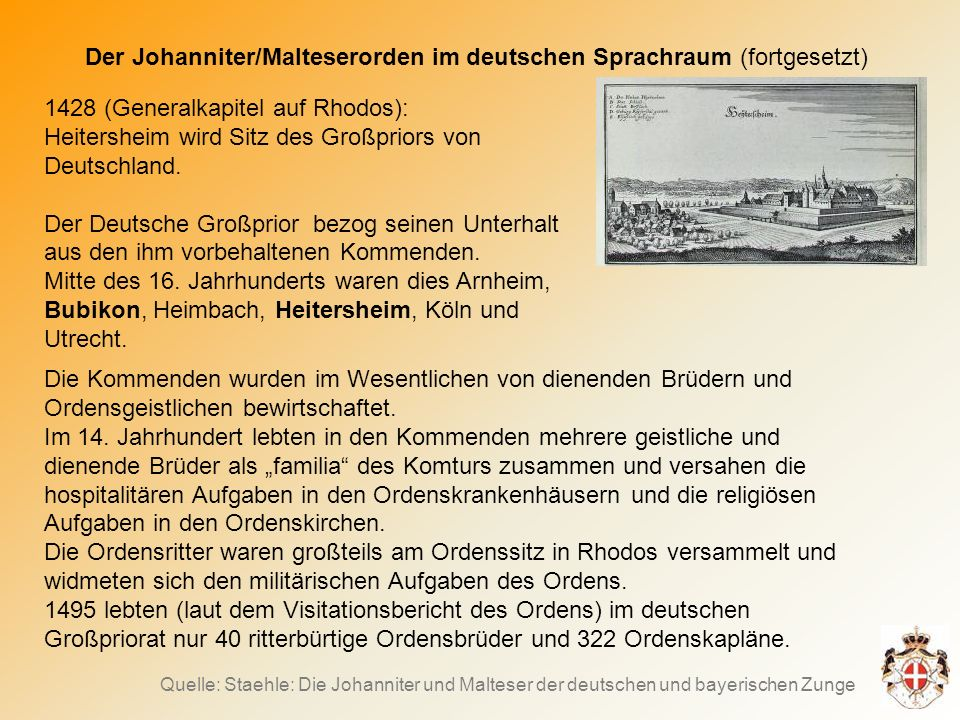 Der Johanniter/Malteserorden im deutschen Sprachraum (fortgesetzt)
