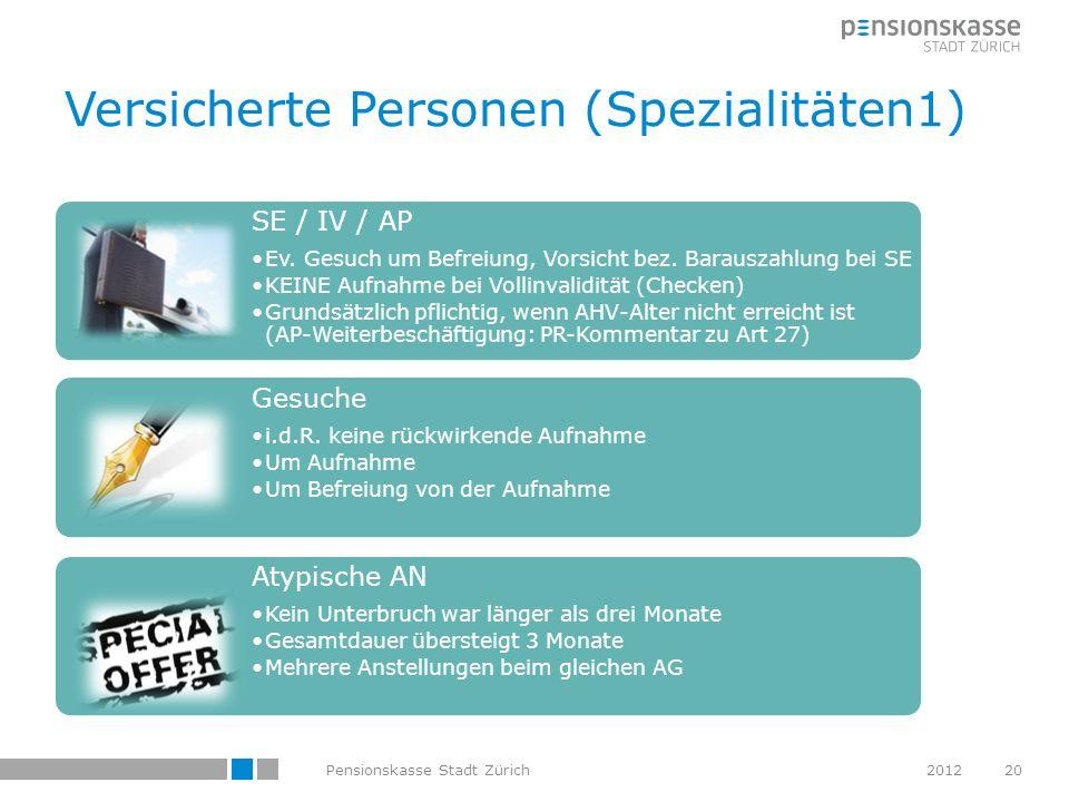 Versicherte Personen (Spezialitäten1)