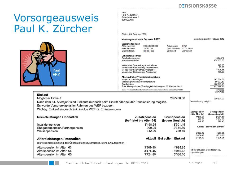 Vorsorgeausweis Paul K. Zürcher
