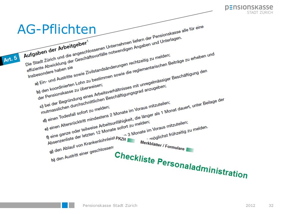 AG-Pflichten Pensionskasse Stadt Zürich 2012