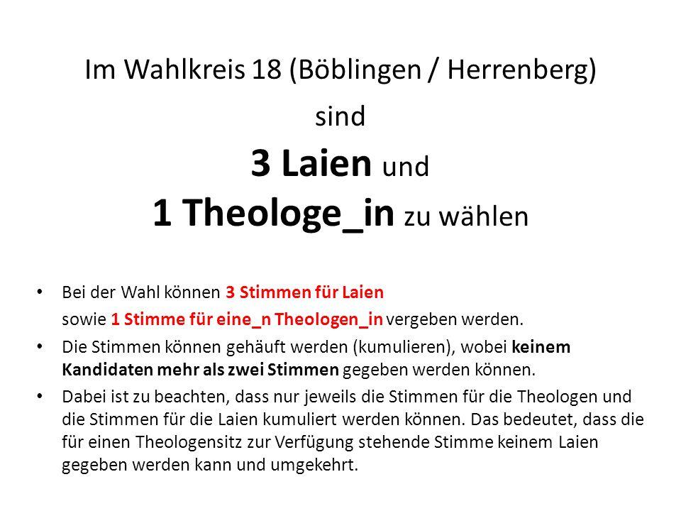 Im Wahlkreis 18 (Böblingen / Herrenberg) sind 3 Laien und 1 Theologe_in zu wählen