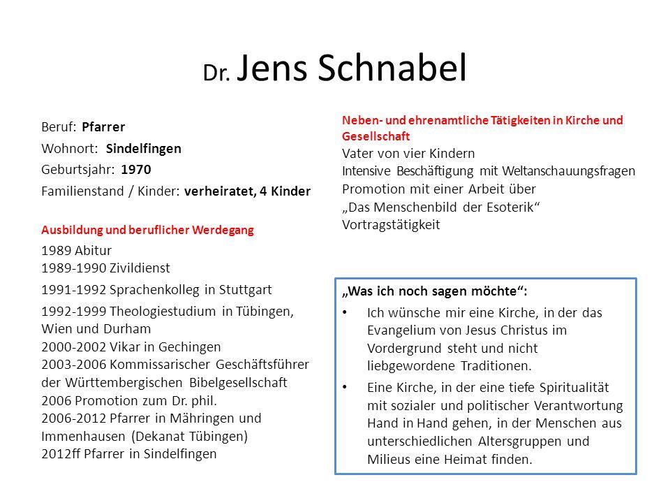 Dr. Jens Schnabel Beruf: Pfarrer Wohnort: Sindelfingen