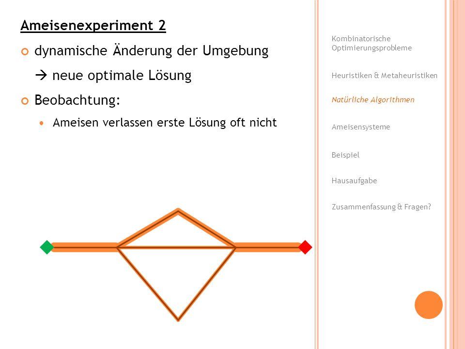 dynamische Änderung der Umgebung  neue optimale Lösung Beobachtung: