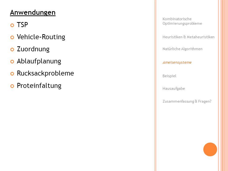 Anwendungen TSP Vehicle-Routing Zuordnung Ablaufplanung