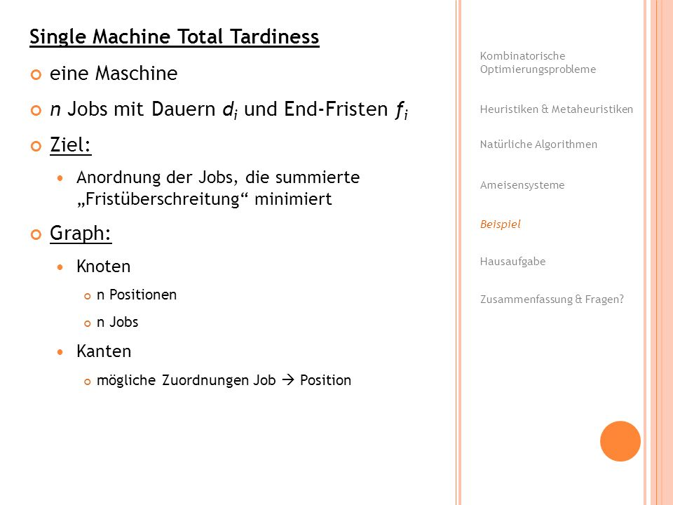 Single Machine Total Tardiness eine Maschine