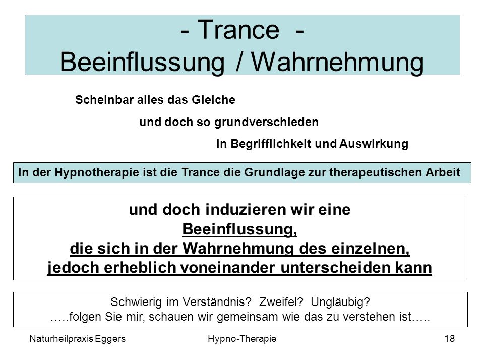 - Trance - Beeinflussung / Wahrnehmung