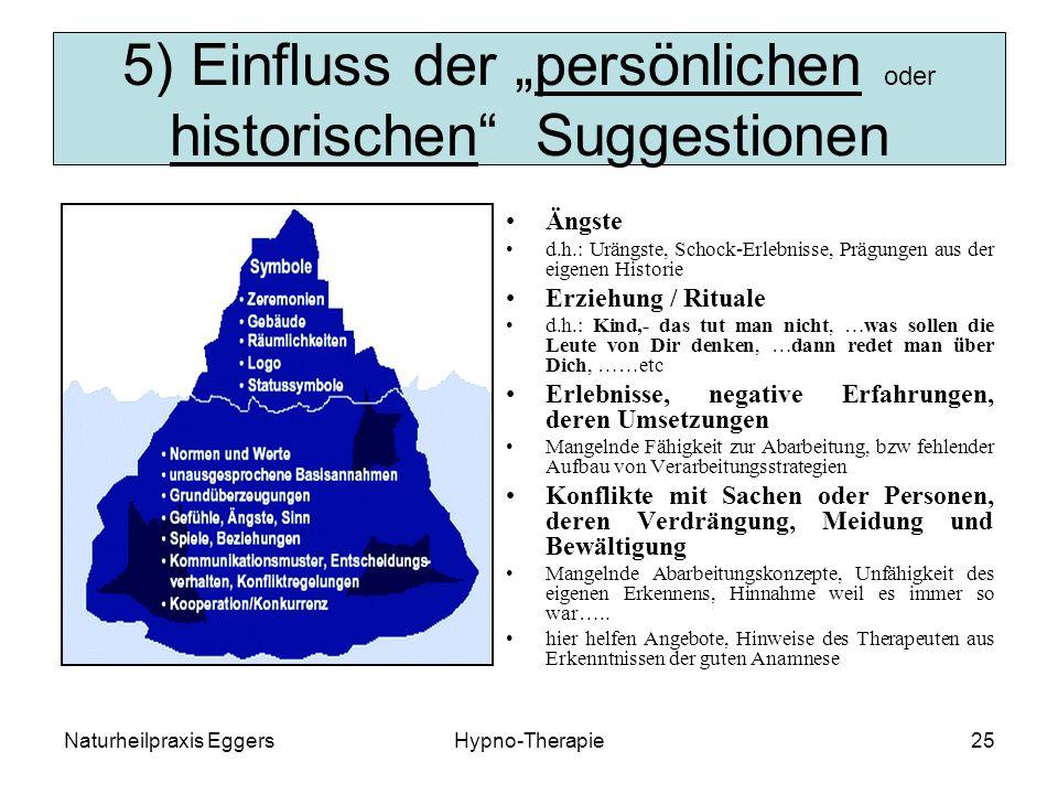"""5) Einfluss der """"persönlichen oder historischen Suggestionen"""