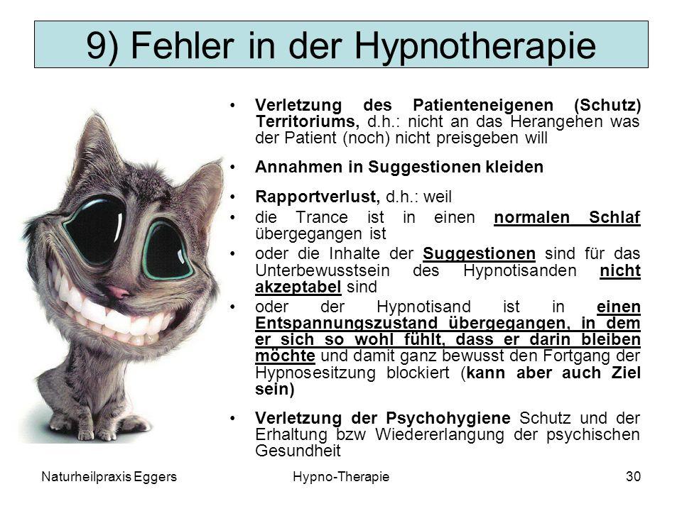 9) Fehler in der Hypnotherapie