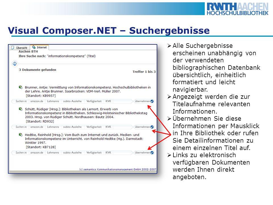 Visual Composer.NET – Suchergebnisse