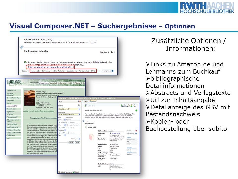 Visual Composer.NET – Suchergebnisse – Optionen