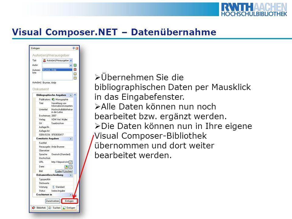 Visual Composer.NET – Datenübernahme