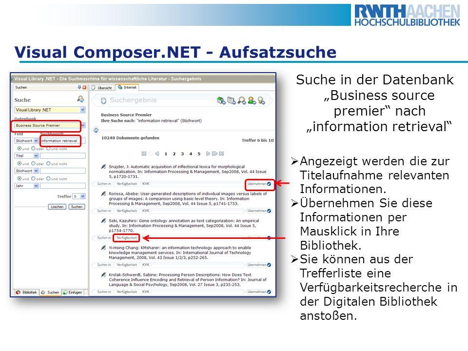 Visual Composer.NET - Aufsatzsuche