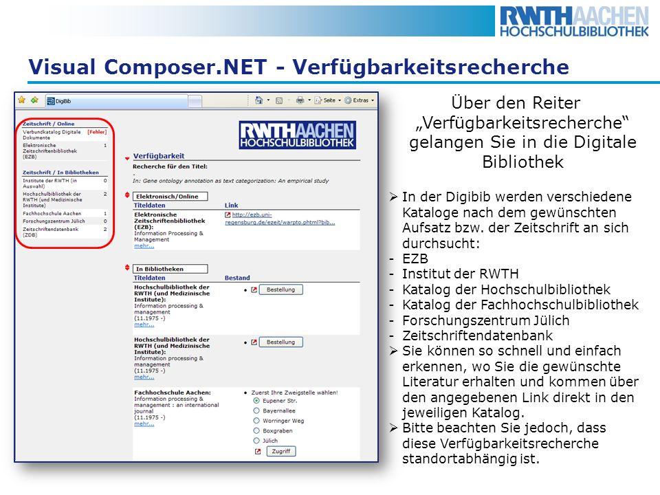 Visual Composer.NET - Verfügbarkeitsrecherche