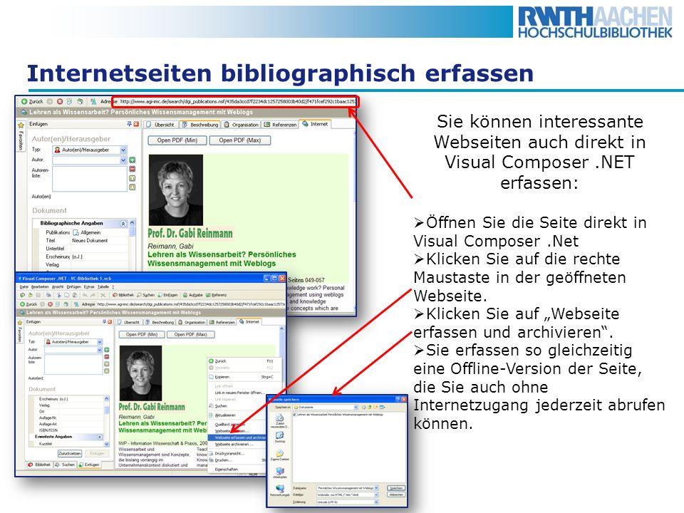Internetseiten bibliographisch erfassen