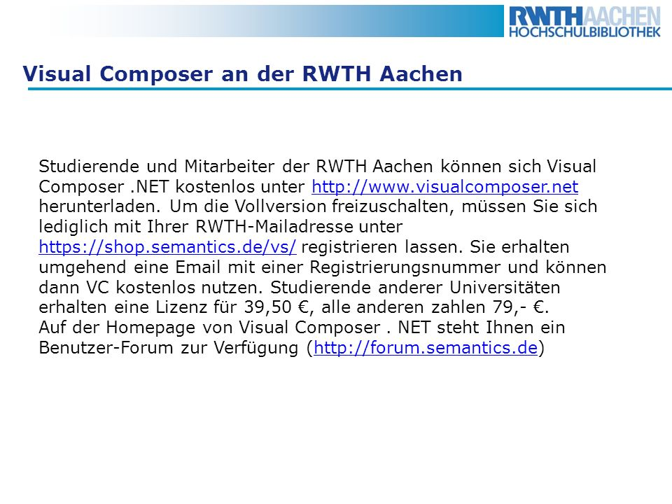 Visual Composer an der RWTH Aachen