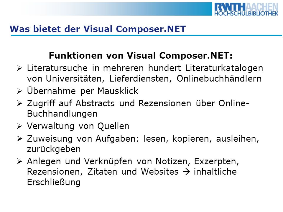 Was bietet der Visual Composer.NET