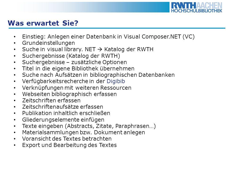 Was erwartet Sie Einstieg: Anlegen einer Datenbank in Visual Composer.NET (VC) Grundeinstellungen.