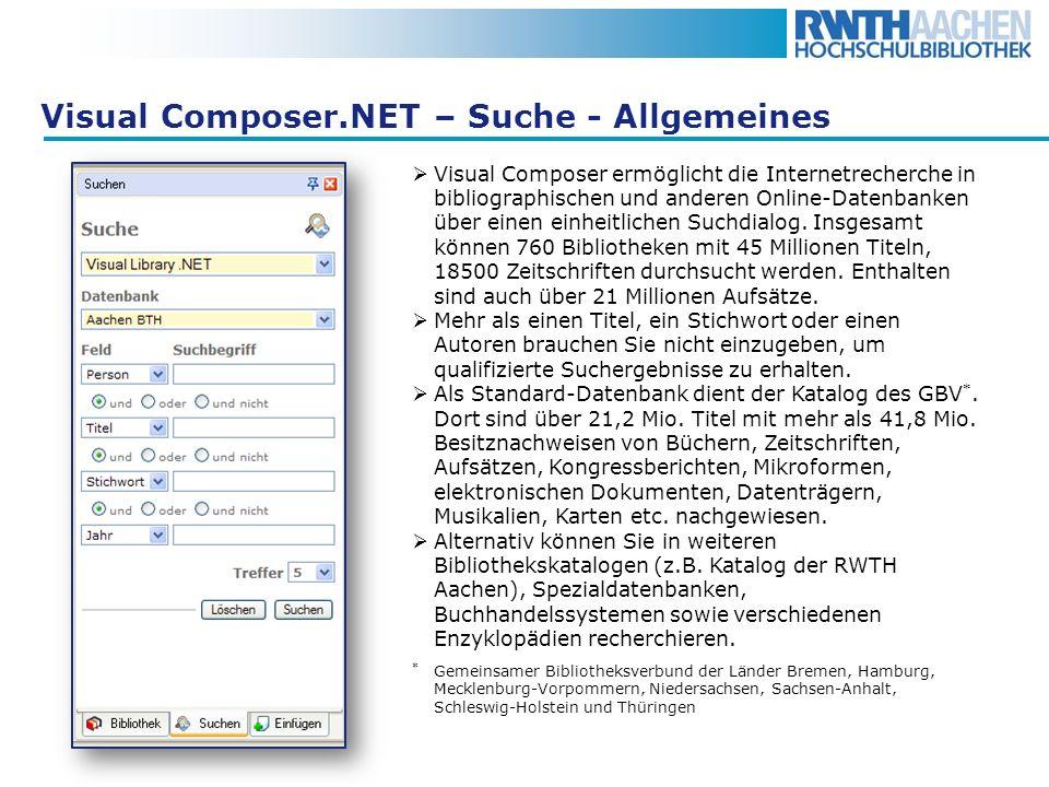 Visual Composer.NET – Suche - Allgemeines