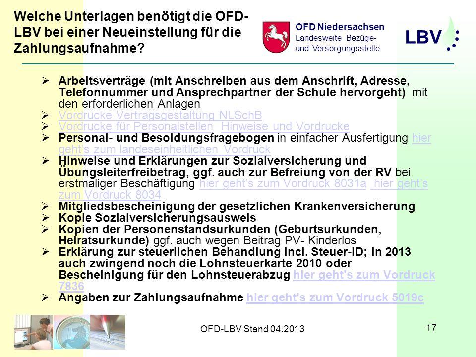 Welche Unterlagen benötigt die OFD-LBV bei einer Neueinstellung für die Zahlungsaufnahme
