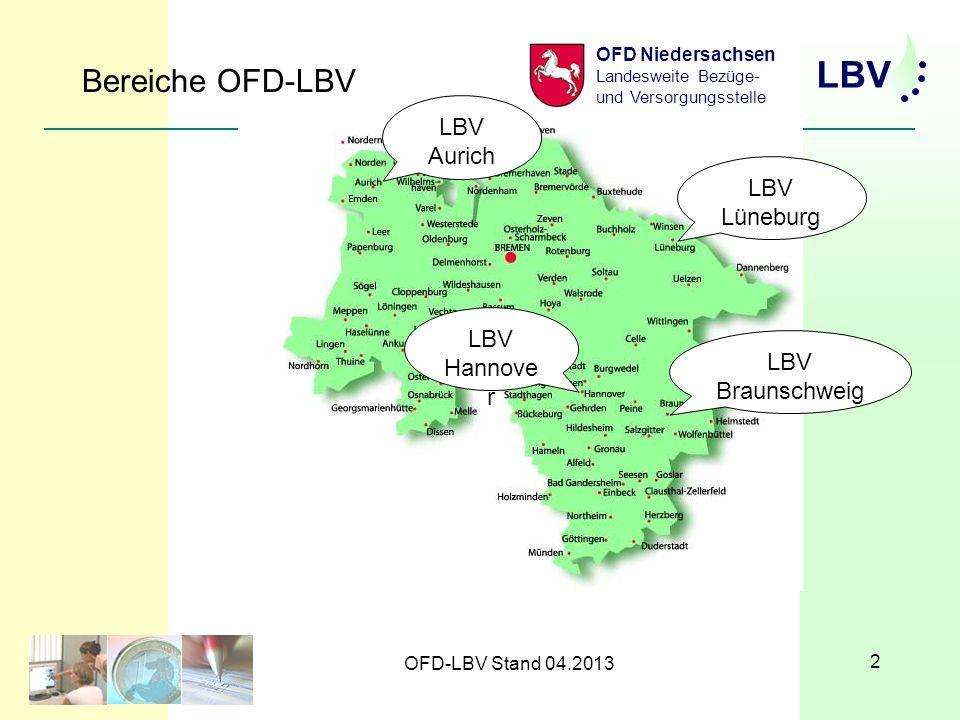 Bereiche OFD-LBV LBV Aurich LBV Lüneburg LBV Hannover LBV Braunschweig