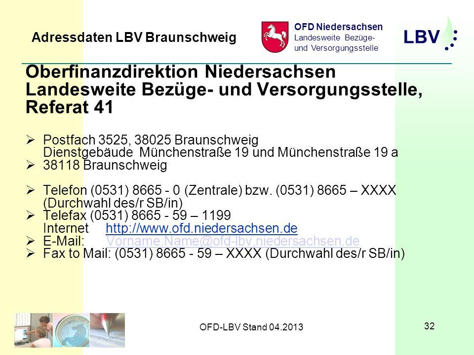 Adressdaten LBV Braunschweig