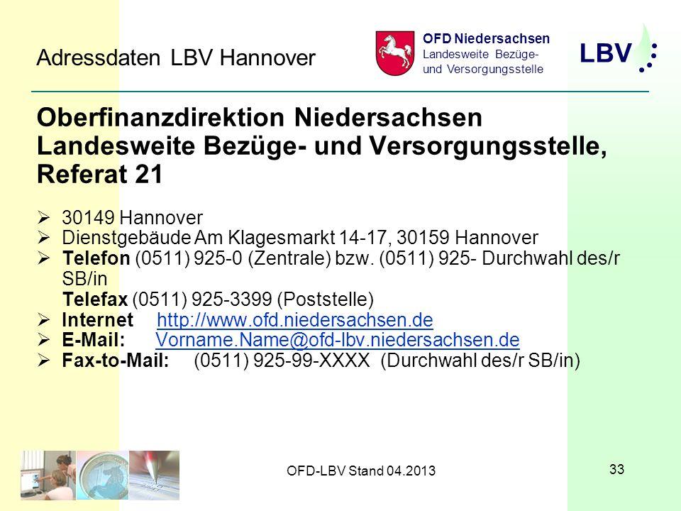 Adressdaten LBV Hannover