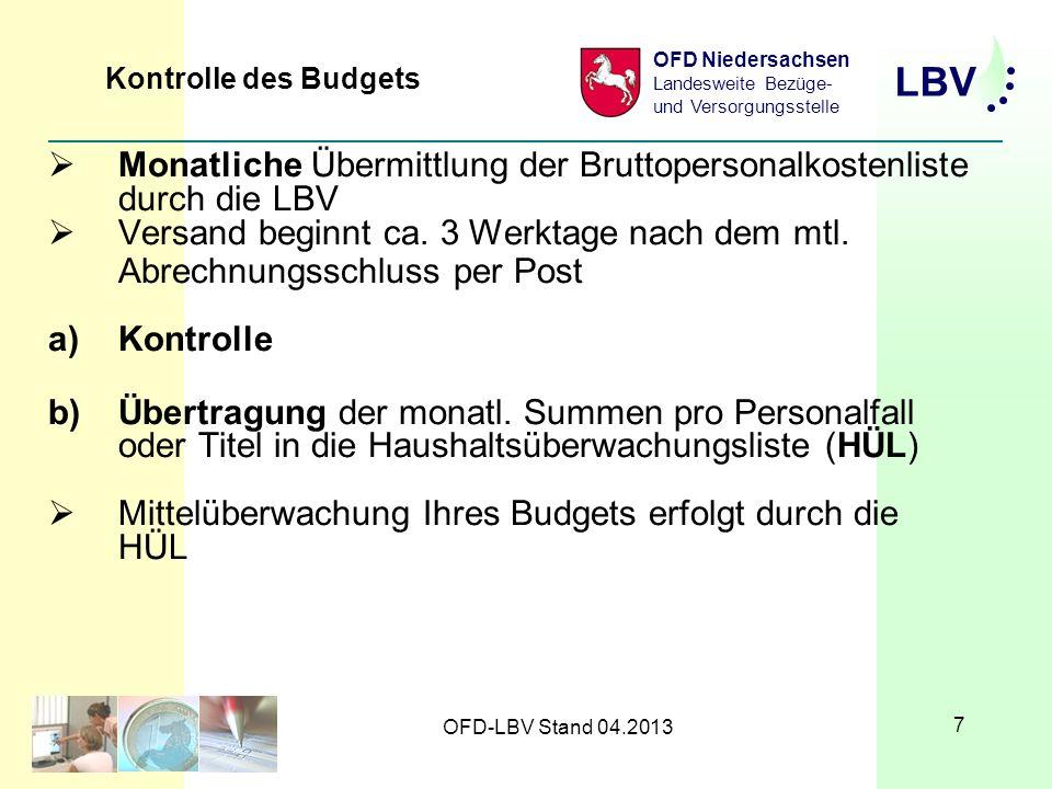 Monatliche Übermittlung der Bruttopersonalkostenliste durch die LBV
