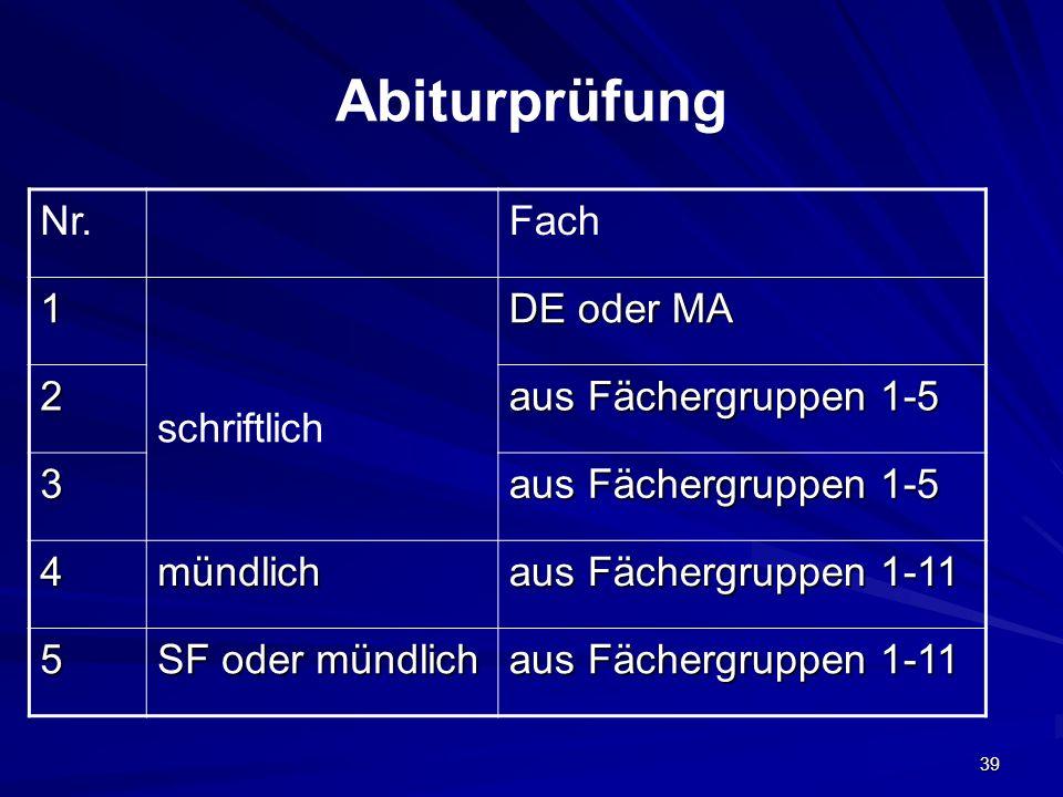 Abiturprüfung Nr. Fach 1 schriftlich DE oder MA 2