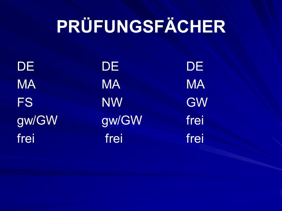 PRÜFUNGSFÄCHER DE DE DE MA MA MA FS NW GW gw/GW gw/GW frei