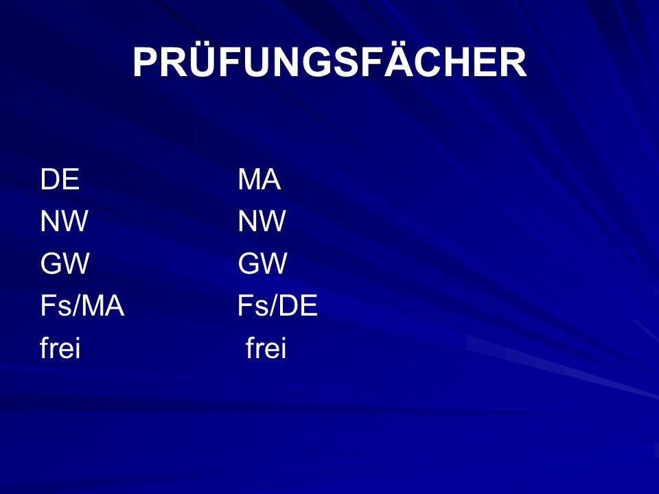 PRÜFUNGSFÄCHER DE MA NW NW GW GW Fs/MA Fs/DE frei frei