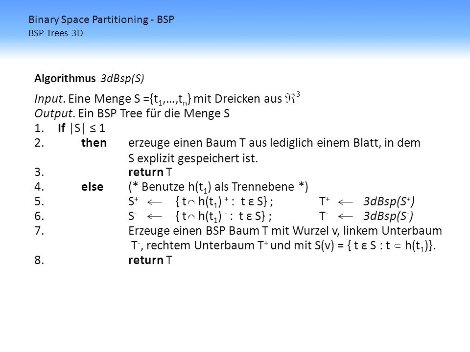 Binary Space Partitioning - BSP BSP Trees 3D