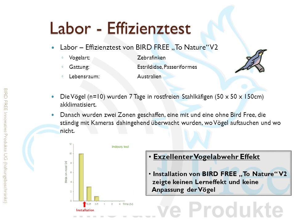 """Labor - Effizienztest Labor – Effizienztest von BIRD FREE """"To Nature V2. Vogelart: Zebrafinken. Gattung: Estrildidae, Passeriformes."""