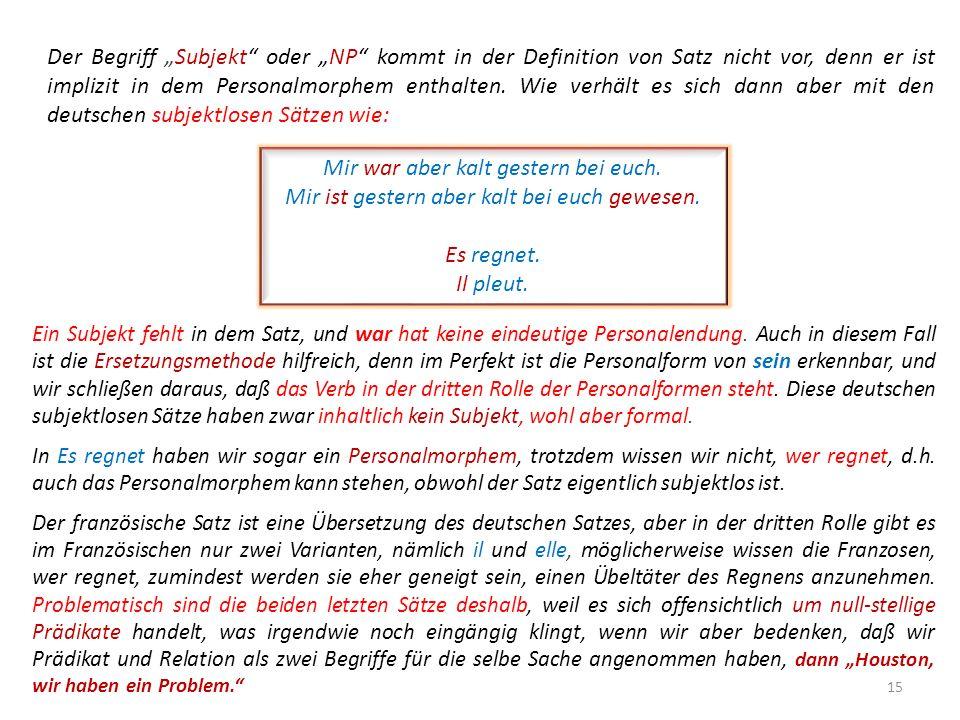 """Der Begriff """"Subjekt oder """"NP kommt in der Definition von Satz nicht vor, denn er ist implizit in dem Personalmorphem enthalten. Wie verhält es sich dann aber mit den deutschen subjektlosen Sätzen wie:"""