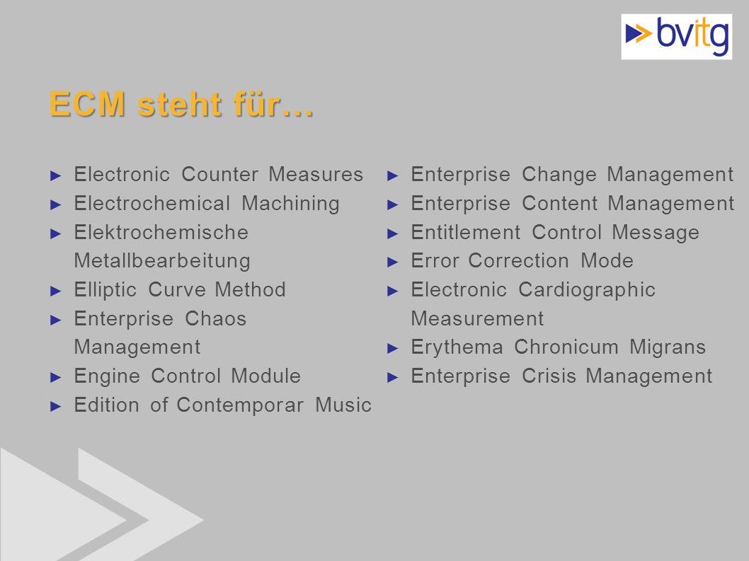 ECM steht für… Electronic Counter Measures Electrochemical Machining