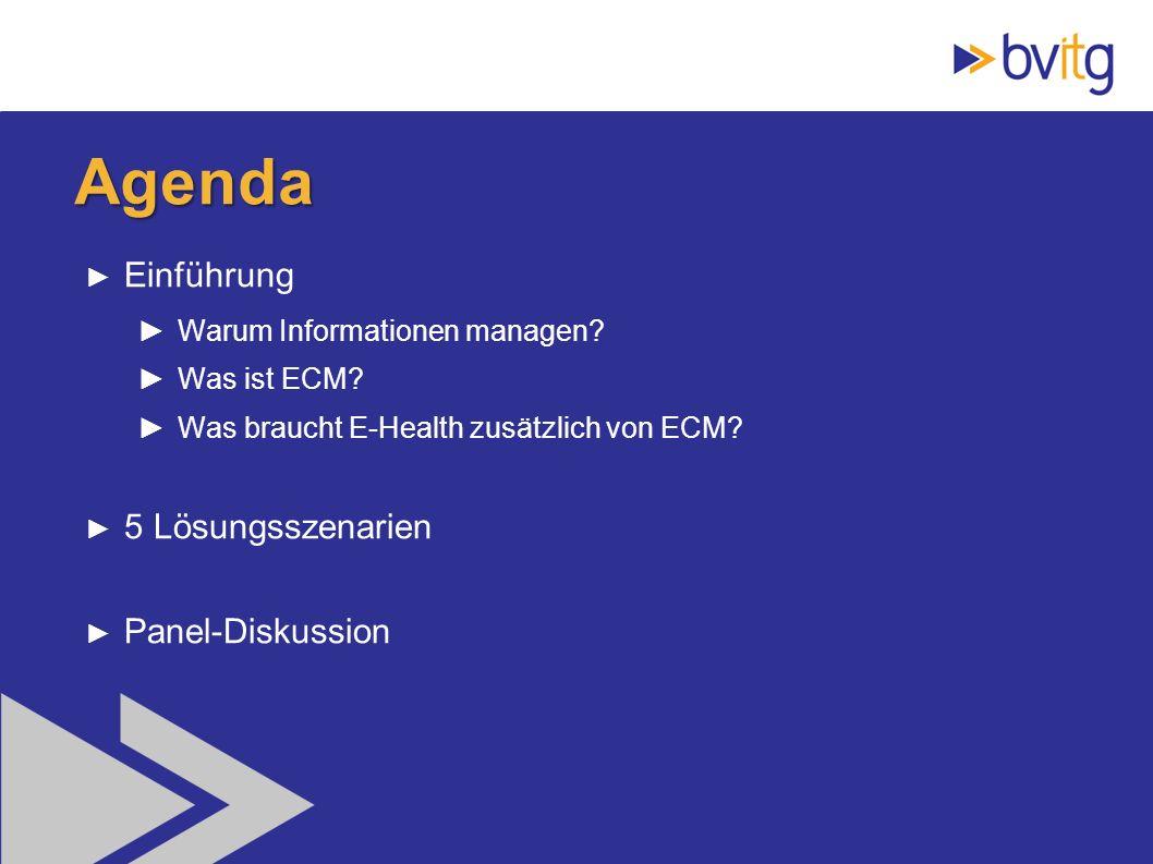 Agenda Einführung 5 Lösungsszenarien Panel-Diskussion