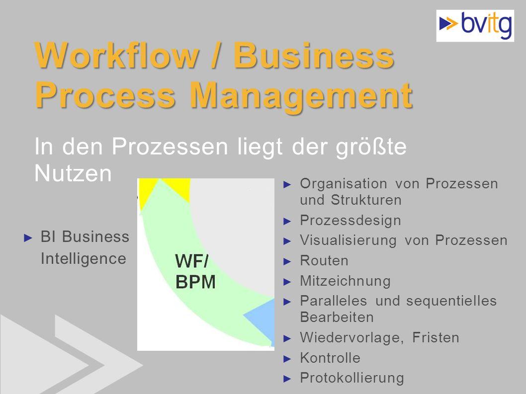 Workflow / Business Process Management In den Prozessen liegt der größte Nutzen