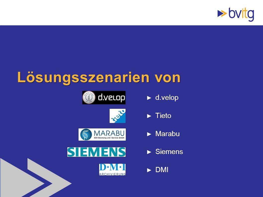 Lösungsszenarien von d.velop Tieto Marabu Siemens DMI
