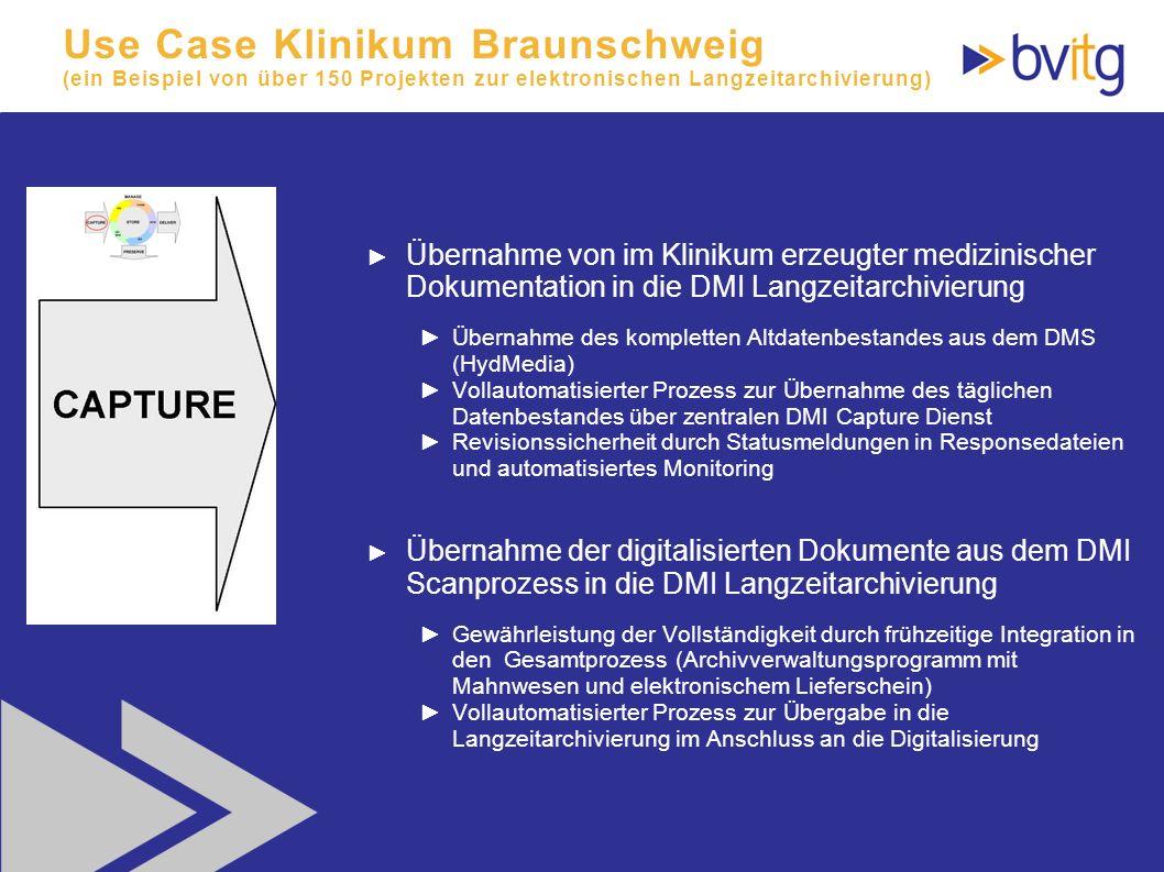 Use Case Klinikum Braunschweig (ein Beispiel von über 150 Projekten zur elektronischen Langzeitarchivierung)