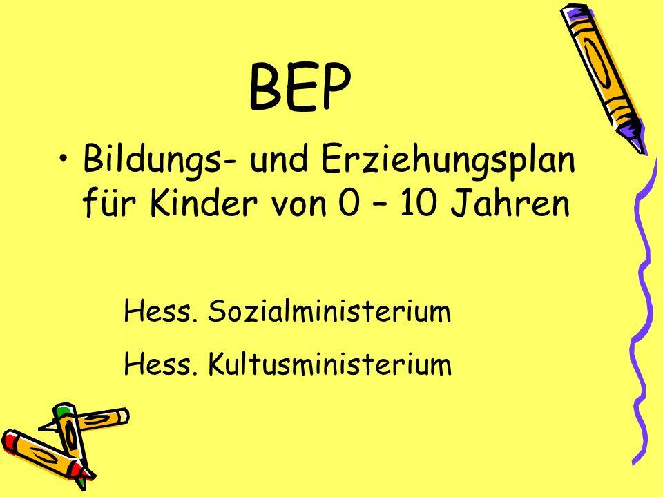 BEP Bildungs- und Erziehungsplan für Kinder von 0 – 10 Jahren