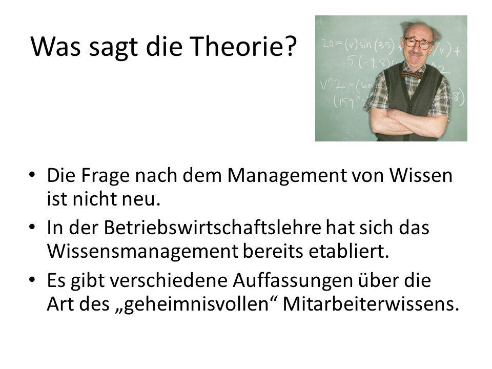 Was sagt die Theorie Die Frage nach dem Management von Wissen ist nicht neu.