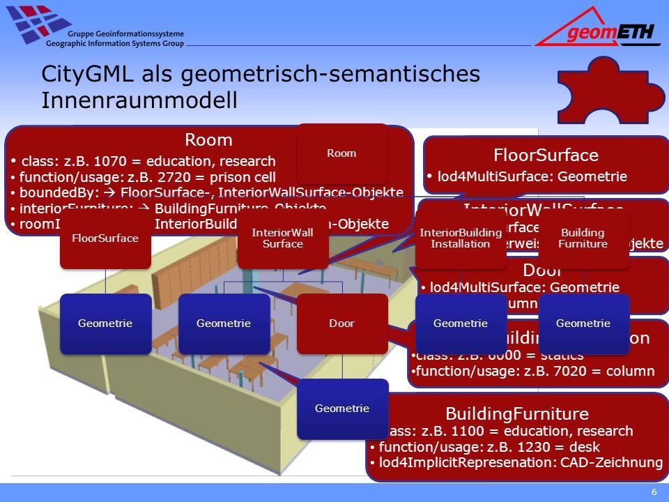 CityGML als geometrisch-semantisches Innenraummodell