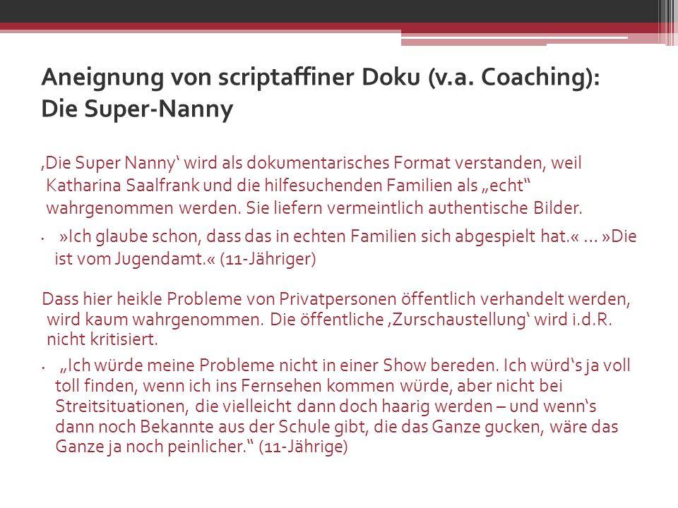 Aneignung von scriptaffiner Doku (v.a. Coaching): Die Super-Nanny