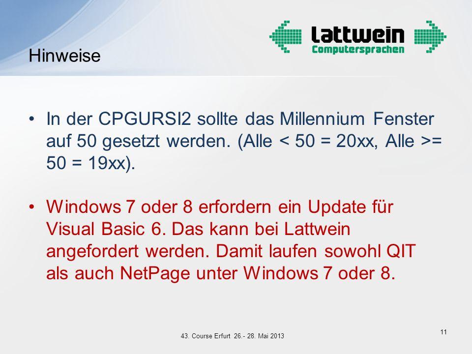 Hinweise In der CPGURSI2 sollte das Millennium Fenster auf 50 gesetzt werden. (Alle < 50 = 20xx, Alle >= 50 = 19xx).