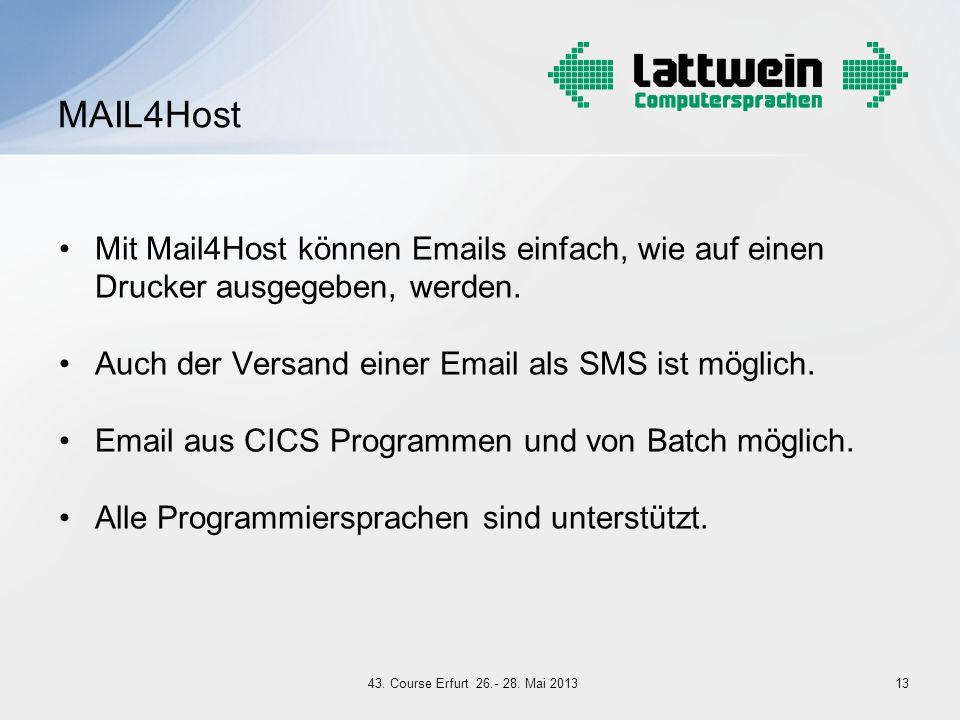 MAIL4Host Mit Mail4Host können Emails einfach, wie auf einen Drucker ausgegeben, werden. Auch der Versand einer Email als SMS ist möglich.