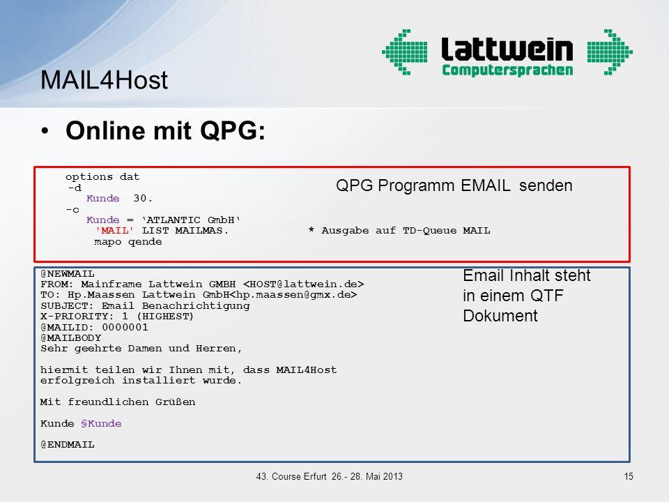 MAIL4Host Online mit QPG: QPG Programm EMAIL senden Email Inhalt steht