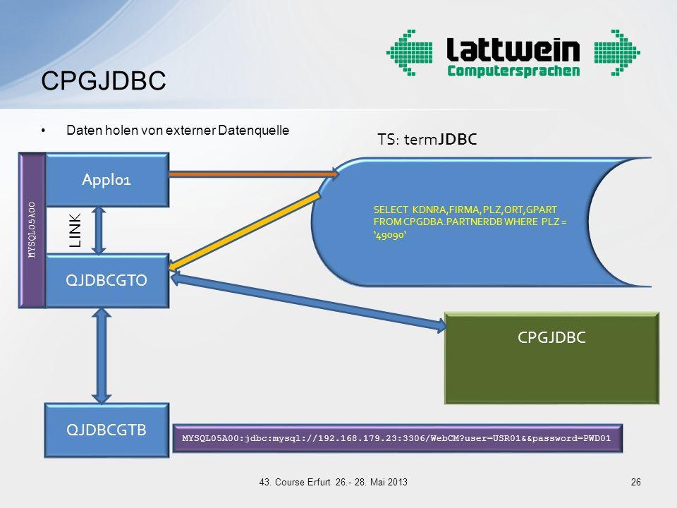 CPGJDBC TS: termJDBC Appl01 LINK QJDBCGTO CPGJDBC QJDBCGTB