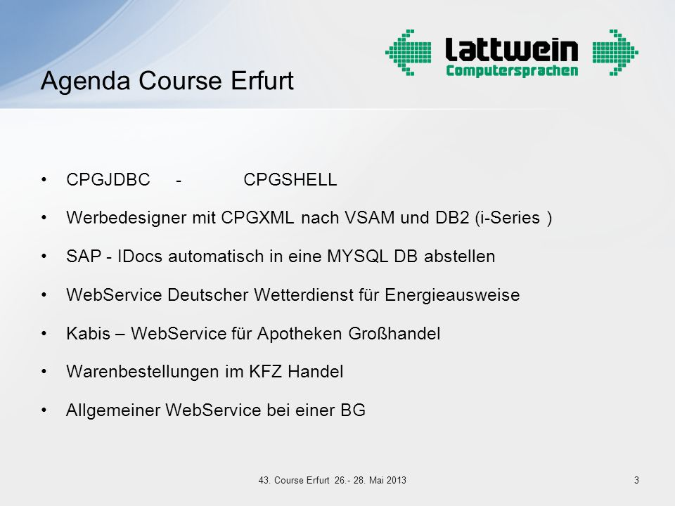 Agenda Course Erfurt CPGJDBC - CPGSHELL
