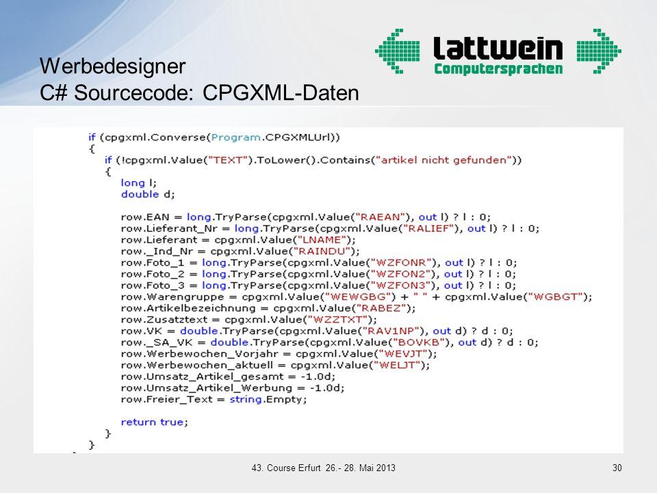 Werbedesigner C# Sourcecode: CPGXML-Daten