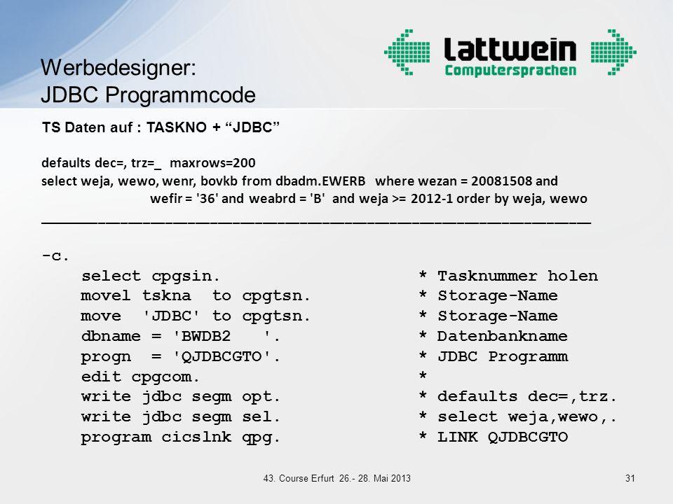 Werbedesigner: JDBC Programmcode