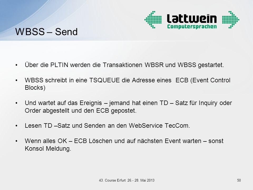 WBSS – Send Über die PLTIN werden die Transaktionen WBSR und WBSS gestartet.